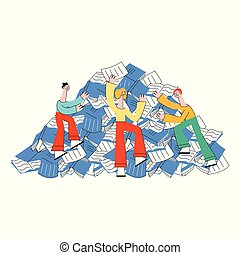 Vector illustration of people trying to climb mountain of...