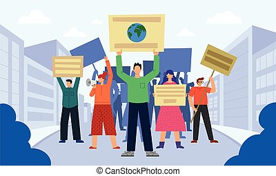 Vector illustration of people who are protesting - This ...