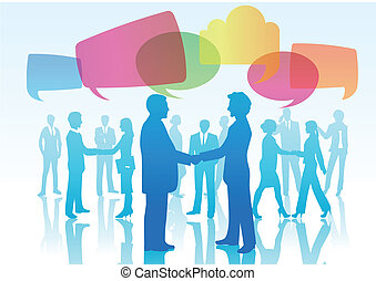 Person shaking hands with speech bu - Vector illustration of...