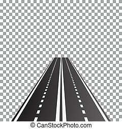 Vector illustration of perspective dual carriageway road,