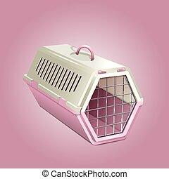 Vector illustration of pet kannel, pink cat carrier