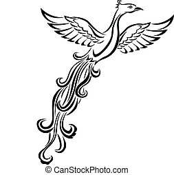 Vector Illustration Of Phoenix bird tattoo