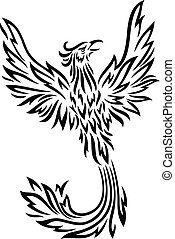 Phoenix tattoo isolated on white background - Vector...