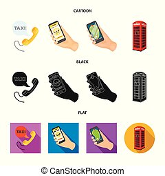 Vector illustration of phone and screen icon. Collection of phone and cellphone stock symbol for web.