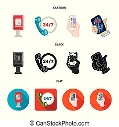 Vector illustration of phone and screen icon. Set of phone and cellphone stock vector illustration.