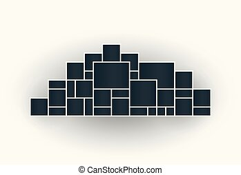 Vector illustration of photo collage frames for presentations, photo montage in the shape of a city. Template. The object on an isolated light background.