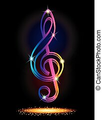Vector illustration of Pictograph of music key