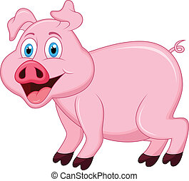 Pig cartoon character - vector illustration of Pig cartoon...