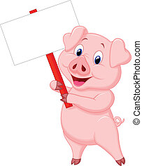 Pig cartoon holding blank sign