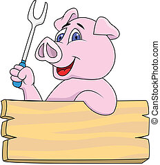 Vector Illustration Of Pig chef