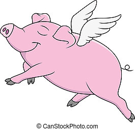 Pig Flying Cartoon - Vector Illustration Of Pig Flying...
