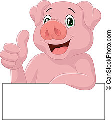Pig giving thumb up - vector illustration of Pig giving...