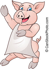 pig wearing apron - Vector illustration of pig wearing apron