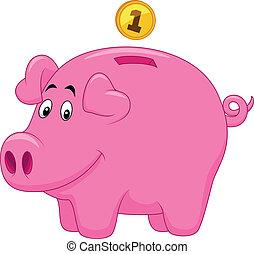 Vector illustration of Piggy bank cartoon