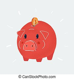 Vector illustration of Piggy bank. Money box with coin isolated on a white background.