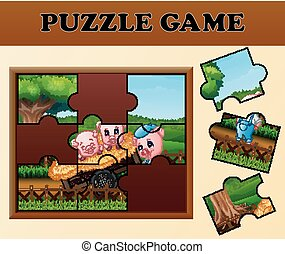 Pigs in the garden with puzzle concept