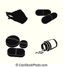 Vector illustration of pill and medicine sign. Collection of pill and vitamin stock vector illustration.