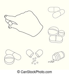 Vector illustration of pill and medicine symbol. Set of pill and vitamin stock symbol for web.