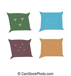 Vector illustration of pillows. Isolated image on a white background
