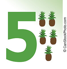 Vector illustration of pineapple and number 5
