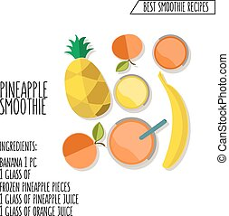 vector illustration of pineapple smoothie recipe hand drawn in flat design style with shadow