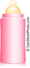 pink baby bottle - Vector illustration of pink baby bottle