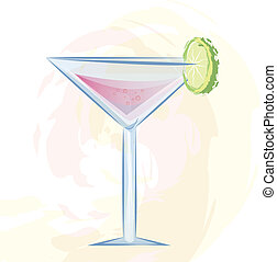pink cocktai - Vector illustration of pink cocktail in a ...