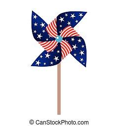 vector illustration of pinwheel with american symbolics