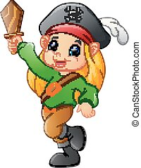 pirate girl holding wooden sword