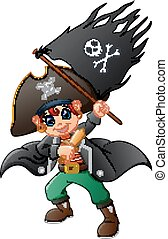 Pirate holding pirate flag - Vector illustration of Pirate...