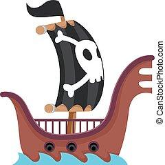 Pirate Ship Sailing in the Sea