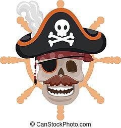 Pirate Skull on wheel