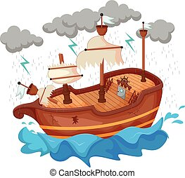 pirate yacht cartoon exposed to the storm