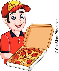 Pizza deliveryman holding open cardboard box with pepperoni pizza
