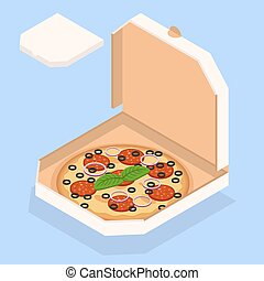 Vector illustration of pizza. Tasty pizza in the box.