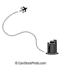 Vector illustration of plane with track in flat style.
