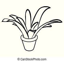 Vector illustration of plant in pot