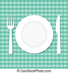 vector illustration of plate, knife and fork