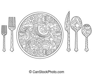 Vector illustration of plate, knife, spoon and fork. Cutlery set.