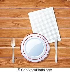 Vector illustration of plate, knife, fork and clear sheet on wooden table