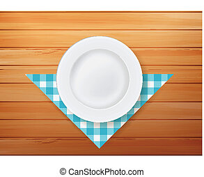 Plate with napkin on wood