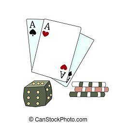 Vector illustration of poker cards and chips . Cartoon style. Wild west theme.