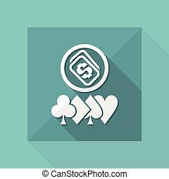 Vector illustration of poker money win icon