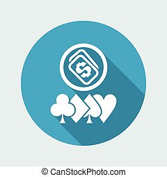 Vector illustration of poker money win icon