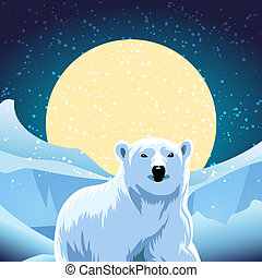 polar bear - vector illustration of polar bear against ice...