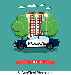 Vector illustration of police car in flat style