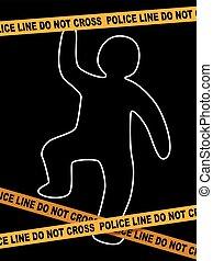 Police Line Crime Scene with dead Body Trace