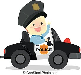 Policeman Baby riding a Police Car