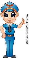 Policeman cartoon giving thumb up