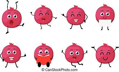 Pomegranate fruits cartoon character